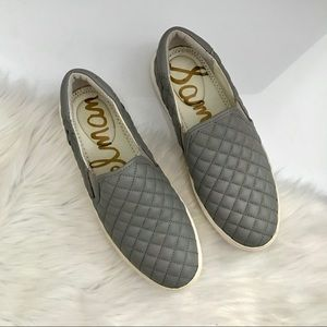 Sam Edelman Ezzie Gray Quilted Slip On Sneakers